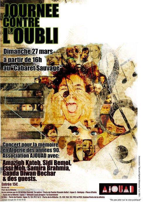 """Concert """"LA JOURNEE CONTRE L'OUBLI"""" - """"Ajouad Algérie Mémoires"""""""