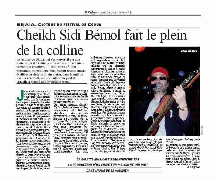 Article EL WATAN : Cheikh Sidi Bémol fait le plein de la colline