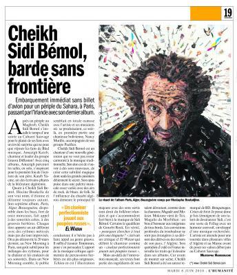 Article Humanité: Cheikh Sidi Bémol, barde sans frontière