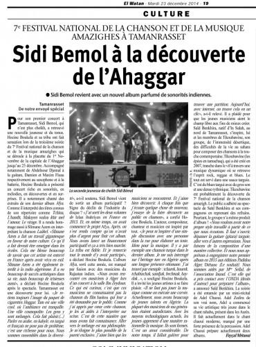 El Watan du 23/12/2014