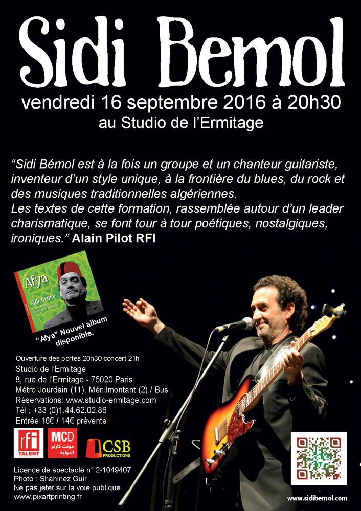 16/09/16: Sidi Bémol en concert à l'Ermitage